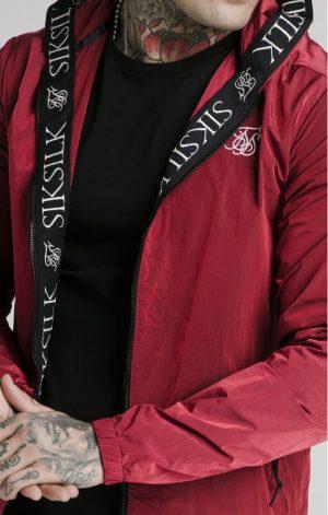 SikSilk Zip Through Windbreaker Jacket – Red