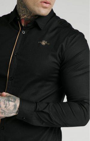 SikSilk L/S Gold Piping Shirt – Black & Gold