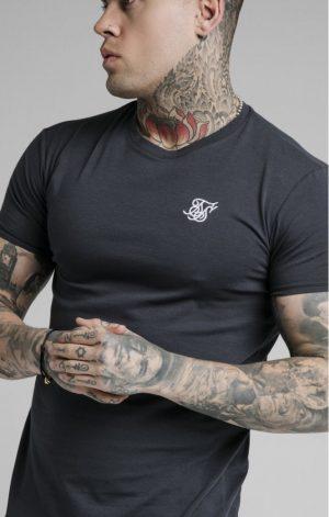 SikSilk Straight Hem Gym Tee – Navy