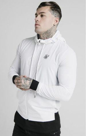SikSilk  Agility Poly Rib Zip Through Hoodie – White