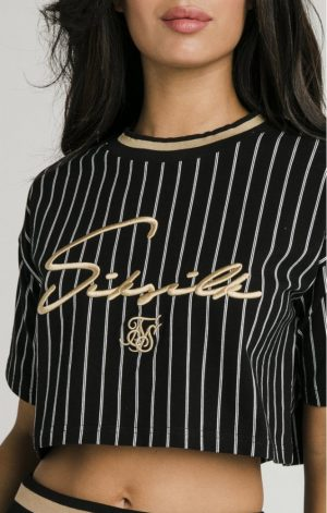 SikSilk Baseball Stripe Crop Tee – Black