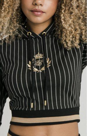 SikSilk Baseball Stripe Cropped Hoodie – Black