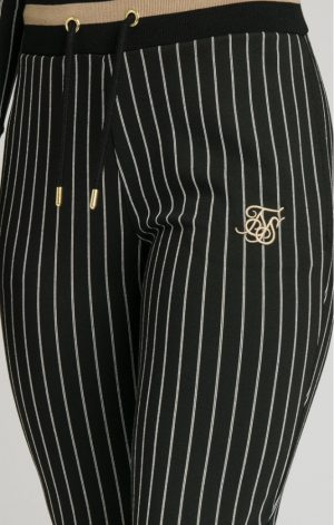 SikSilk  Baseball Stripe Joggers – Black