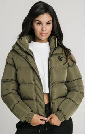 SikSilk  Contrast Lining Crop Jacket – Khaki