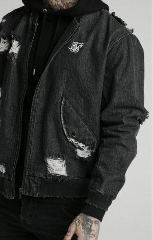SikSilk Distressed Denim Bomber Jacket – Washed Black