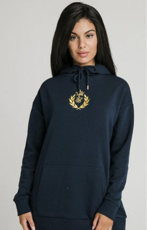 SikSilk Embroidered Oversize Hoodie – Navy