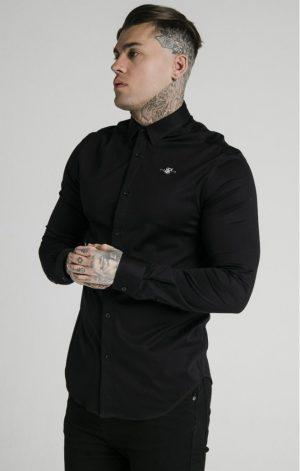 SikSilk  L/S Cotton Shirt – Black