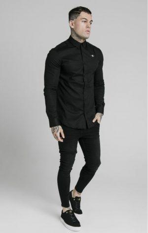 SikSilk  L/S Standard Collar Shirt – Black