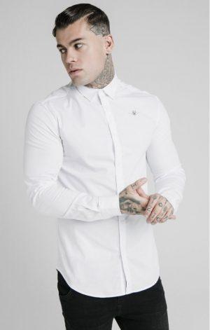 SikSilk  L/S Standard Collar Shirt – White