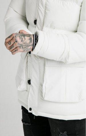 SikSilk  Rip Stop Puff Parka – White