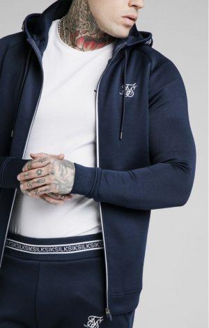 SikSilk Element Zip Through Hoodie – Navy & White