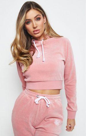 SikSilk Allure Cropped Hoodie – Pink