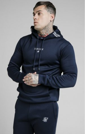 SikSilk Element Muscle Fit Overhead Hoodie – Navy & White
