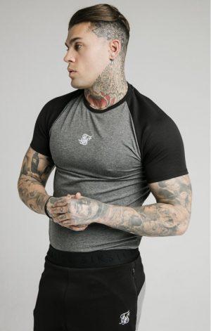 SikSilk  Endurance Gym Tee – Black & Grey