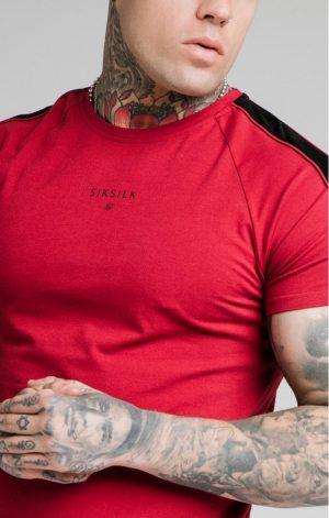 SikSilk Imperial Raglan Gym Tee – Dark Red