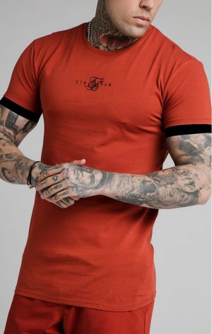 SikSilk  Inset Elastic Cuff Gym Tee – Red