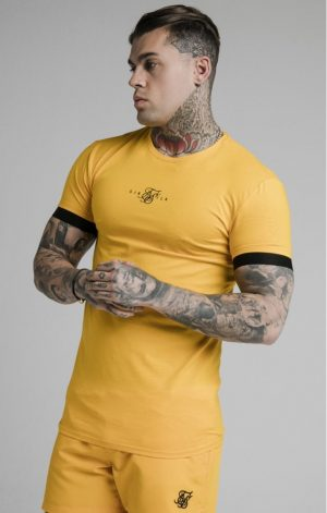 SikSilk  Inset Elastic Cuff Gym Tee – Yellow