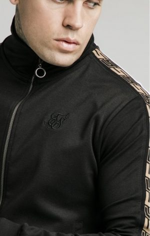 SikSilk  Jacquard Retro Zip Through – Black