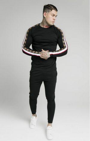 SikSilk  L/S Jacqaurd Retro Gym Tee – Black