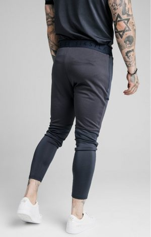 SikSilk  Legacy Fade Track Pants – Midnight Grey & Neon White