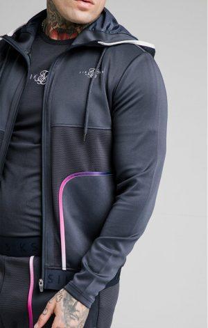 SikSilk  Legacy Fade Zip Through Hoodie – Midnight Grey & Neon White