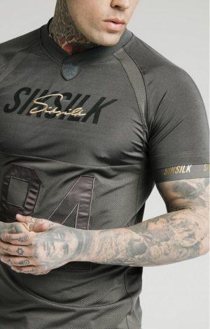 SikSilk  Marbel Stretch Sports Tee – Dark Grey