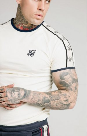SikSilk  S/S Premium Ringer Gym Tee – Off White