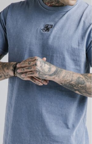 SikSilk S/S Standard Fit Tee – Washed Blue