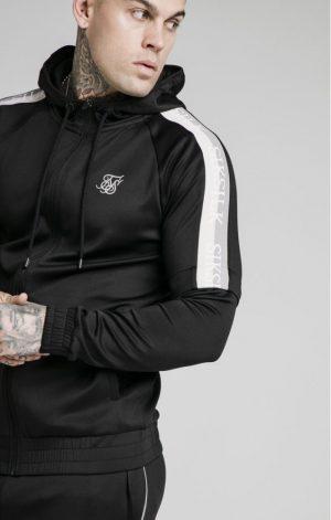 SikSilk  Zip Through Hoodie Detachable Sleeves – Black