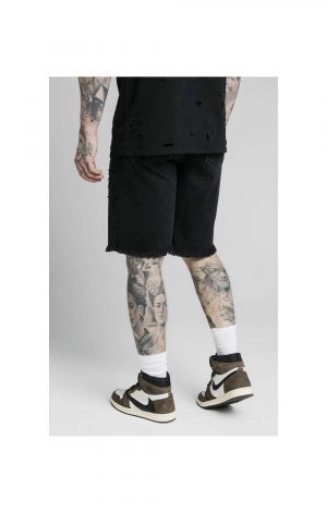 SikSilk Relaxed Floral Pixel Denim Shorts – Washed Black