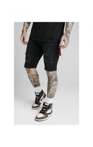 SikSilk Distressed Denim Flight Shorts – Washed Black