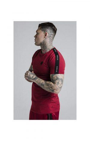 SikSilk Shadow Straight Hem Gym Tee – Deep Red & Black