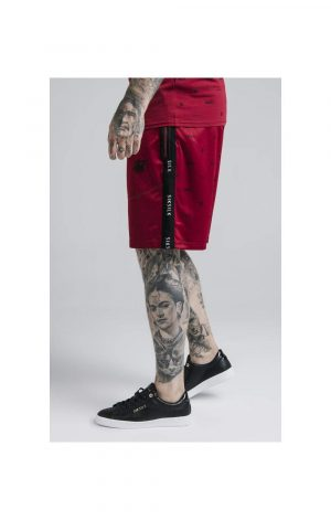 SikSilk Shadow Loose Fit Shorts – Deep Red & Black