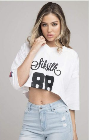 SikSilk Retro Football Crop Jersey – White