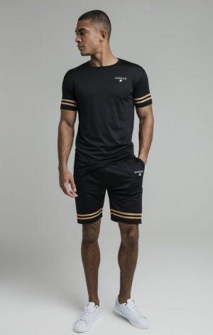 SikSilk S/S Mesh Bound Gym Tee – Black & Gold