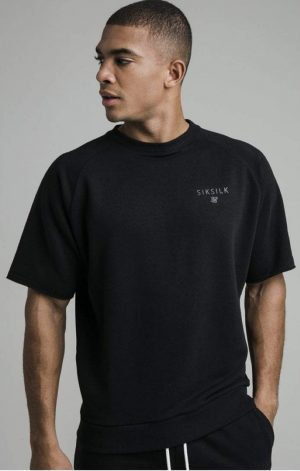SikSilk S/S Relaxed Crew Sweater – Black