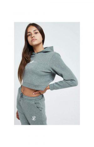 Illusive London Illusive London Dual Cropped Hoodie – Grey Marl