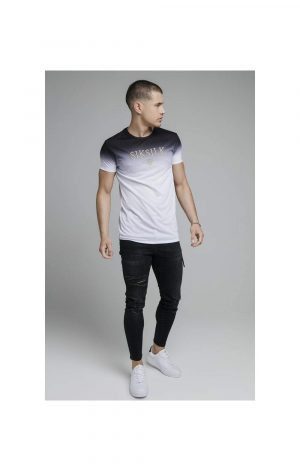 SikSilk S/S High Fade Embroidery Gym Tee – Black & White