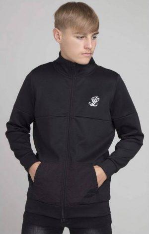 Illusive London Hybrid Zip Through Hoodie – Black