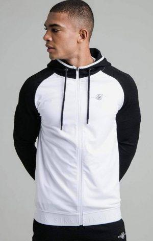 SikSilk Surface Zip Through Hoodie – White & Black