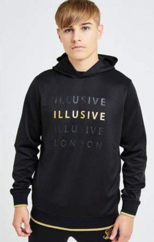 Illusive London Sovereign Overhead Hoodie – Black & Gold