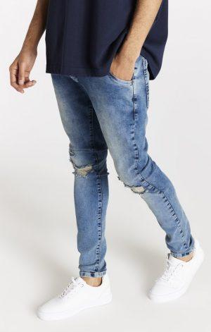 SikSilk Slim Fit Distressed Denims – Washed Light Blue