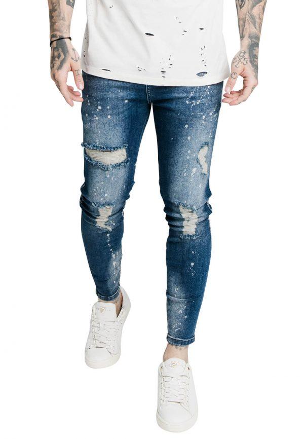 SikSilk-Jeans-Herren-DISTRESSED-SKINNY-RIOT-WASH-DENIMS-SS-17580-Raw-Blue-Blau-38396