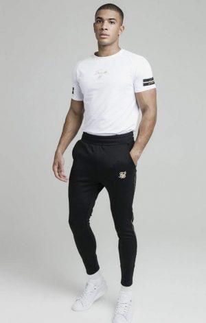 SikSilk Exposed Tape Raglan Gym Tee – White