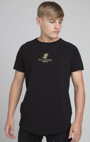 Illusive London Deluxe Raglan Tee – Black & Gold
