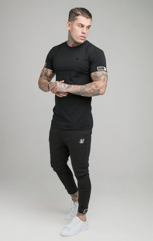 SikSilk S/S Active Cuff Gym Tee – Black
