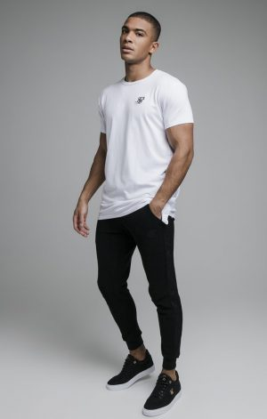 SikSilk S/S Embroidered Tape Tee – White