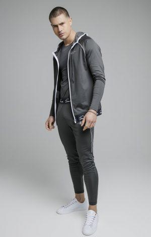 SikSilk Scope Signature Tape Zip Through Hoodie – Grey