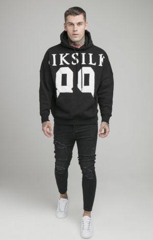 SikSilk Drop Shoulder Relaxed Fit Hoodie – Black & White