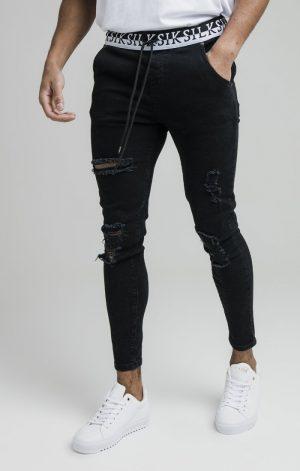 SikSilk Distressed Skinny Elasticated Denim – Washed Black